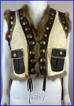 Real RUSSIAN Sable Fur Roberto Cavalli SM Vest Jacket Coat Western Boho Hippie