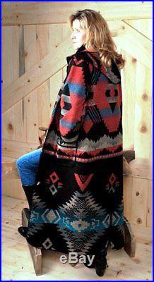 Rhonda Stark Navy Apache 52 Duster Coat Native American Blanket Concho Button