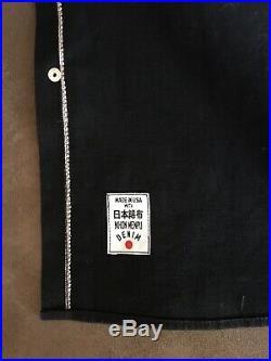 Rogue Territory 11oz. Black x Black Stealth Western Shirt Raw Denim Heavy Large