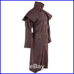 S-2xl Western Cowboy Ranch Oilskin Duster Outback Mens Coat Drover Jacket Brown