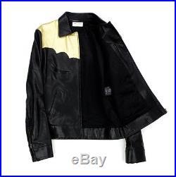 SAINT LAURENT PARIS Leather jacket Western Circus SS15 Black Gold Hedi Slimane