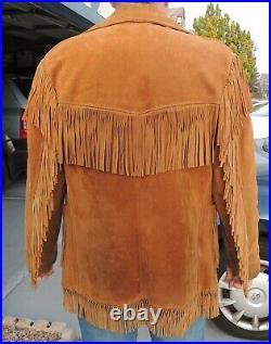 SCHOTT RANCHER Fringe Brown Leather Jacket Coat Western Mens Size 42
