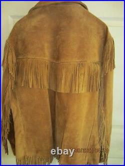 SCHOTT RANCHER Suede Leather Fringed Western Jacket Hippie Biker Coat 50