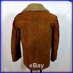 SEARS Vtg Lined Barn Coat WESTERN Heavy Suede Leather Rancher JACKET S 36 Brown