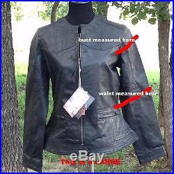 STS Ranchwear Women's Western MC Leather Biker Jacket (LARGE slim fit Black)
