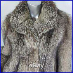 Saga Foxsz L/xlvintage Genuine Real Silver Crystal Brown Fox Fur Coat Jacket