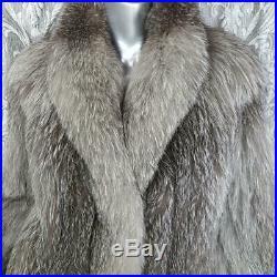 Sagasz M/lstunning Vintage Genuine Real Silver Fox Fur Coat Jacket Stole Wrap
