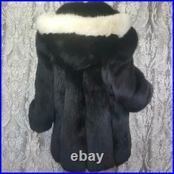 Sagasz Xlvintage Genuine Black Off White Blonde Fox Fur Hooded Tuxedo Coat