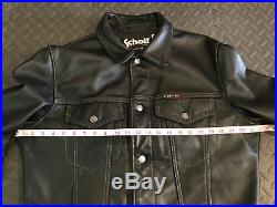 Schott Leather Trucker Motorcycle Jacket Medium Black M Men Levis Western