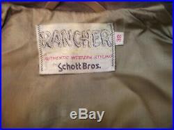 Schott Rancher Vintage Fringe Brown Leather Jacket Western 38