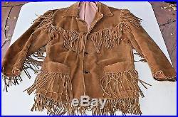 Southwestern Brown Warm Leather Suede Fringed Western Wear Cowboy Jacket Coat