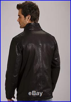 Stetson Mens Black Leather Car Coat Style Jacket Western Button Front L
