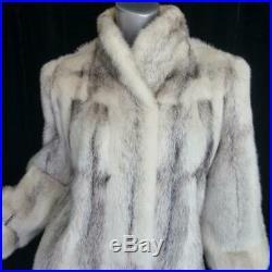 Stunning Vintagesz Lgenuine Off White Black Gray Cross Mink Fur Coat Jacket