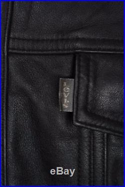 Stunning Vtg LEVIS STRAUS Black Leather Motorcycle Jacket Western Large