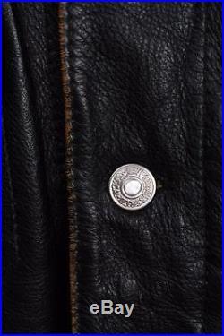 Stunning Vtg LEVIS STRAUS Leather Motorcycle Jacket Western Large