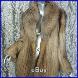 Stunningsz M/lvintage Genuine Real Brown Off White Silver Fox Fur Coat Jacket
