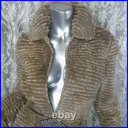 Stunningsz Xs/sgenuine Real Beige Brown Sheared Mink Rabbit Fur Coat Jacket