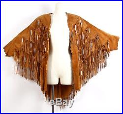 Suede Leather Fringe Jacket Vtg Women Size M/L Hippie Boho Western Rockabilly