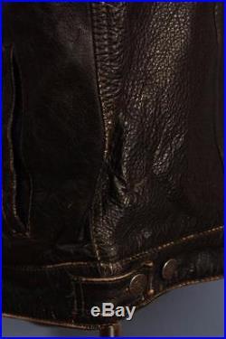 Superb Vtg LEVIS STRAUS Black Leather Motorcycle Jacket Western XL