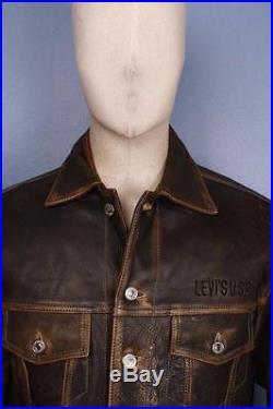 Superb Vtg LEVIS STRAUS Brown Leather Motorcycle Jacket Western Medium