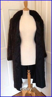 Szor-Diener Vintage REAL Mink Fur Coat Brown Full Length Long Winter Western