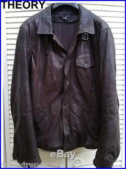 THEORY leather jacket dark brown bomber military coat barn car western nr moto L