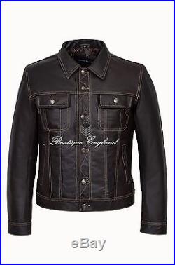 TRUCKER' 1280 Men's BROWN SKIPPER Classic Western Real CowHide Leather Jacket