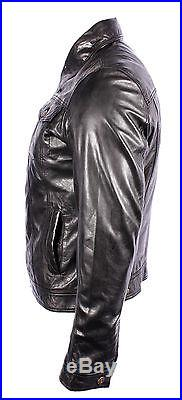 TRUCKER' Denim New Men's WAXED Black Napa Soft Real Western Leather Rock Jacket