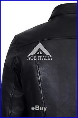 TRUCKER Men's BLACK NAPPA WAX 1280 Classic Real Lambskin Western Leather Jacket