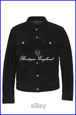 TRUCKER' Men's BLACK SUEDE 1280 Classic Real soft Cow Western Leather Jacket