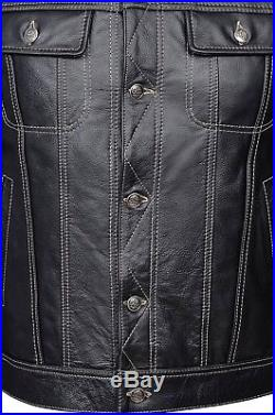 TRUCKER Men's Black Leather Jacket Real Cowhide Classic Western Stylish Shirt
