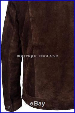 TRUCKER' Men's Brown Suede Real Leather Denim 1280 Classic Western Jacket