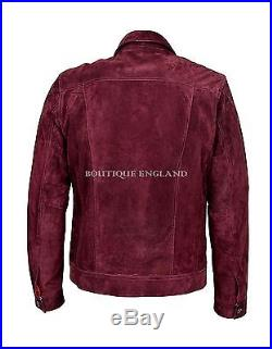 TRUCKER Men's Cherry Red SUEDE 1280 Classic Real Cowhide Western Leather Jacket