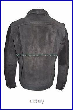 TRUCKER Men's Jacket Genuine Black Suede Leather Classic Western Stylish Shirt