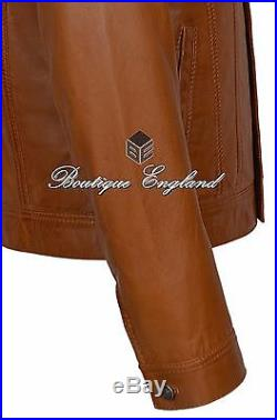 TRUCKER Men's Tan Classic Western Real Napa Soft Genuine Leather Jacket Shirt