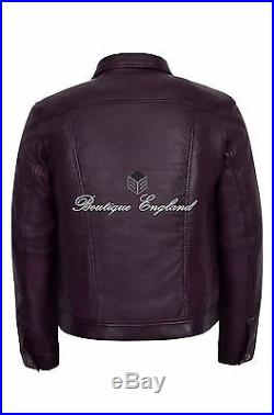 TRUCKER Mens 1280 Oxblood Classic Western Real Soft Genuine Leather Jacket Shirt