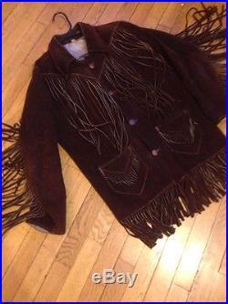 TRUE VINTAGE Fringe Suede LEATHER Jacket Coat Western Cowboy S/M Chocolate Brown