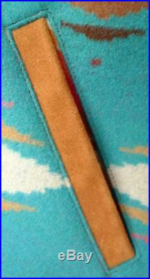 TURQUOISE PENDLETON HIGH GRADE WESTERN Wear WOOL Blanket COAT Jacket LG TEAL