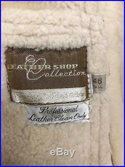 The Leather Shop Suede Sherpa Western Rancher Coat Jacket Mens 46 T Sears Vtg