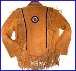 Tobacco Suede Leather Traditional Cowboy Western Vintage Jacket Fringes Beads