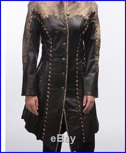 Tribe America Custom 100% Leather Western Jacket Coat Size 4-6