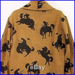 True Grit Cowboy Jacket Vtg Western Rodeo Horses Coat Made In USA Mens Large