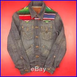True Religion Johnny Baja Jean Denim Western Jacket Mens Small Button Up