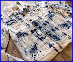 True Religion Men Jimmy Tie-Dyed Bleached Distressed Western Jean Trucker Jacket