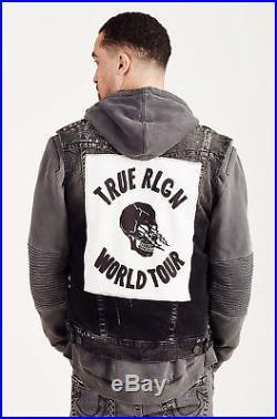 True Religion Men's Jimmy Western Denim Jean Vest Jacket in Black