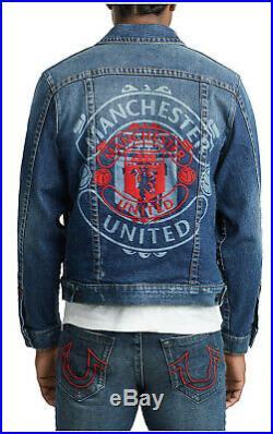 True Religion Men's X Manchester United Western Denim Trucker Jacket in Indigo