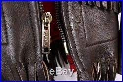 UBER Owatonna Vintage Dark Brown Leather Fringe Western 70s Jacket Coat Women L