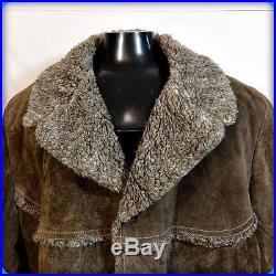 USA Vtg WESTERN Heavy Suede Leather RANCHER JACKET Barn Coat Mens 3XL XXXL Brown