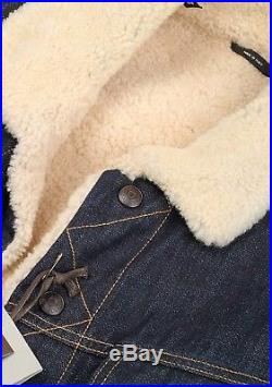 Ultra Rare and Great Tom Ford AW15 Dark Blue Western Denim Shearling Jacket
