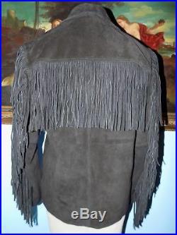 Understated Black Western Fringe Jacket-M
